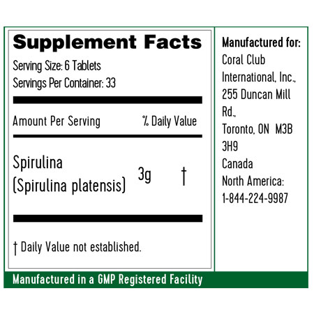 Spirulina in compresse ingredienti