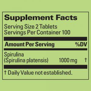 Spirulina in tablets ingredienti