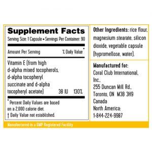 Vitamina E ingredienti